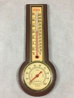 Vintage Sunbeam Thermometer Humidity Hygrometer Plastic Brown