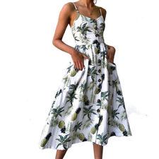 Women Summer Sunflower Print Spaghetti Straps Sexy Tie Short Mini Dress Sundress