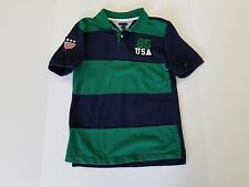 Tommy Hilfiger USA Rugby Green Navy Striped Cotton Polo Shirt Youth Large 16/18