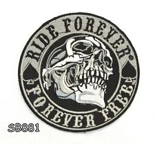 RIDE FOREVER SKULL Iron on Small Patch for Biker Vest SB881