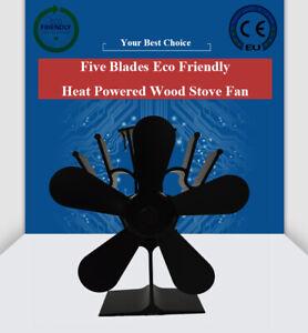 Silent 5 Blades 1350rpm Wood Stove Fan Heat Powered Eco Fireplace Fan Log Burner