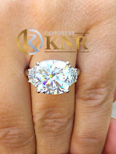 PLATINUM CUSHION FOREVER ONE MOISSANITE AND MOON DIAMOND ENGAGEMENT RING 5.80CT