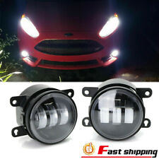 Fits 2004-19 Honda Nissan Subaru LED Clear Lens Front bumper Fog Light Lamp Pair