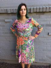 Vintage 60's 70's Stella Fagin Dress Floral Pockets Hippy Mod Boho Retro S/M