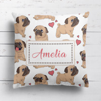 Personalised Cute Pugs Dog Home Cushion Cover Pillow Case & Filling