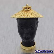 Vintage Estate 18k Yellow Gold Blackamoor Lady Charm Necklace Pendant G8