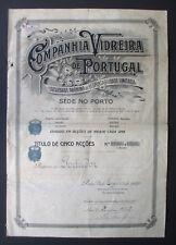 Portugal - Companhia Vidreira de Portugal, 5 Shares, 1921 - *RARE*