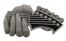 GUITAR CHORD ELECTRIC SKULLS HANDS SKELETON VINTAGE PLAIN FINISHING BELT BUCKLE.