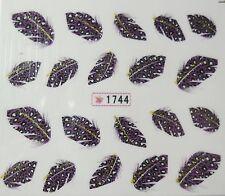 Accessoire ongles : nail art - Stickers autocollants - plumes léopard violettes