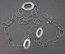 """Silpada Oxidized Hammered Sterling Silver Oval Link Necklace 34"""" N1506"""