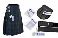 Men's Scottish 6 Piece Casual Kilt Outfit with Sporran, Black Watch Tartan Kilt