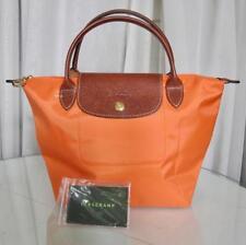 Longchamp Le Pliage Small Nylon Leather Hand Tote Bag Very Orange