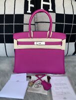 100% Authentic BRAND NEW Hermes Birkin 30 Veau Togo L3 Rose Pourpre W/ PHW, 2018