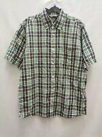 Carhartt men's shirt short sleeve check green pink size L cotton