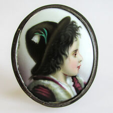 Antique Continental Hand Painted Porcelain Portrait Plaque of a Tyrolean Boy