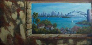 Original oil landscape painting of Sydney Harbour - unstretched