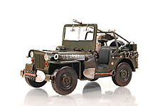 "Willys Overland Army Military Jeep 1940 Quad Metal Model 11"" Automotive Decor"