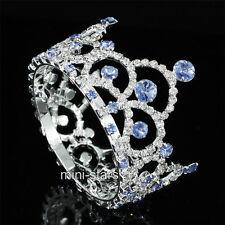 Flower Girl / Baby Crystal Full Circle Round Blue Mini Crown Tiara T1764