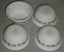 CORELLE SPRING PINK  LOT OF 4 ROUND 6 OZ DESSERT OR DIP  BOWLS NEVER USED U S A