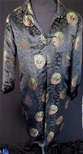 VINTAGE 1980'S BLACK RAYON DRAGON BROCADE CHINESE QUILTED COAT SIZE XXL