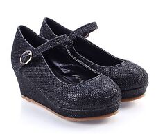 5 Color Cute Glitter Kids Wedge Heels Youth Girls Party Dress Shoes WITHOUT BOX