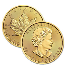 Lot of 2 Canadian 1 oz. Gold Maple Leaf .9999 fine Random Year 1oz RCM $50 Coins