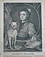 19th Century Engraving by T Cook after William Hogarth's Self Portrait with Pug