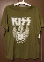 KISS Men's Graphic Band Tee T-Shirt Factory Distressed Neckline Sizes-L,XL,XXL