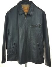 TERRITORY AHEAD Mens Black Leather Motorcycle Jacket XL
