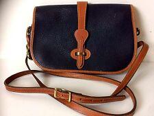 Dooney & Bourke All Weather Navy & Brown Leather Cross Body Satchel Shoulder Bag
