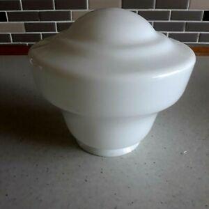 VINTAGE  WHITE ART DECO / 1930s GLASS GLOBE LAMP/LIGHT SHADE   (2)