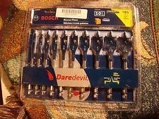 10-Pce Bosch Daredevil 6-Inch Wood Paddle Flat Drill Spade-Bit Threaded-Tip Set