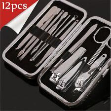 12Pcs Nail Care Personal Manicure & Pedicure Set Travel & Grooming Kit Men/Women