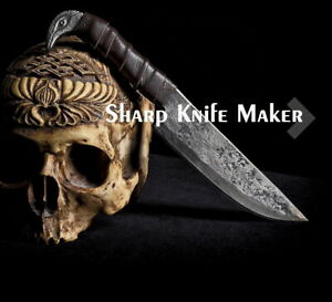 Custom Forged Full Tang Carbon Steel Viking Knife with Raven's Head Hilt Handle
