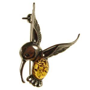 BALTIC AMBER STERLING SILVER 925 HUMMINGBIRD BROOCH PIN JEWELLERY JEWELRY