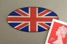 Union Jack Flag Sticker Domed Finish Red, Blue & Chrome 50mm Oval
