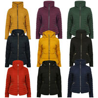 New Womens Tokyo Laundry Quilted Hooded Funnel Neck Winter Jacket Size 8-16