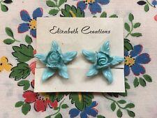 Vintage 50's/60's kitsch novelty plastic rose flower clip on earrings, turquoise