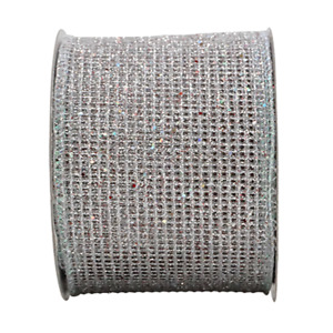 2-1/2in 10YD Diamond Silver Glitter Mesh  Ribbon for Gift, Floral, Craft Use