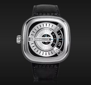 PREOWNED IN BOX SEVENFRIDAY SF-M1/01 SILVER DIAL BLACK LEATHER STRAP MEN'S WATCH