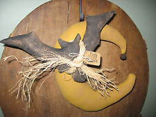 PATTERN~PRIMITIVE HALLOWEEN FLYING BAT AND MOON DOLL DOOR HANGER SHELF HANGER