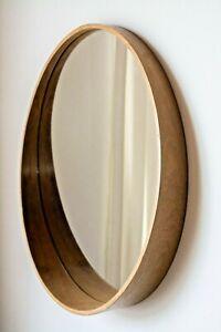 round wall mirror natural wood veneer teak diameter 23,5 in  (60 сm) like Ikea