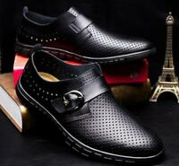 Mens slip on loafer leather hollow out sandal casual dress driving shoes plus sz