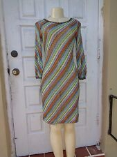 M MISSONI MULTI COLOR KNIT WOOL LONG SLEEVE STRETCH DRESS Sz 44 MADE IN ITALY