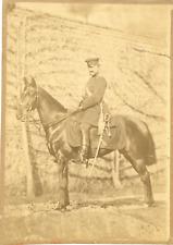 Officier à cheval, à Dieppe vers 1880 Vintage albumen print Tirage a