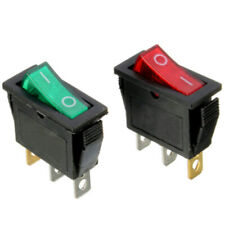 On/Off Rectangle Rocker Switch LED Lighted DC 12V Car Dash 3-Pin SPST Green+Red
