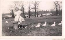 Easter Sunday Dress Girl Holding Flag By Lawn Flamingo Ducks Vintage 1961 Photos