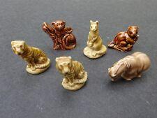 6 Vintage Wade England Rose Tea Whimsies Figurines Beaver Pony Tiger Kangaroo