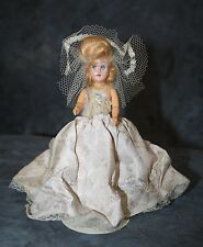 "Vintage Doll with Blonde Hair Dressed in Pink Satin Crochet and Veil 6"" Bride"