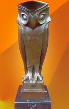 More details for hot cast bronze owl statue animal figure art deco sculpture cubist bird figure